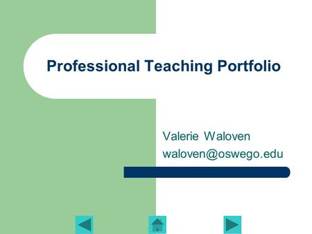 Professional Teaching Portfolio Valerie Waloven