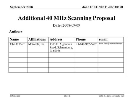 Doc.: IEEE 802.11-08/1101r0 Submission September 2008 John R. Barr, Motorola, Inc.Slide 1 Additional 40 MHz Scanning Proposal Date: 2008-09-09 Authors: