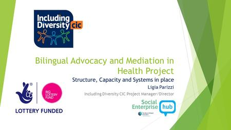 Bilingual Advocacy and Mediation in Health Project Structure, Capacity and Systems in place Ligia Parizzi Including Diversity CIC Project Manager/Director.
