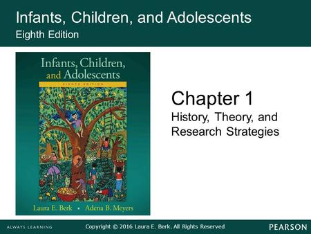 Copyright © 2016 Laura E. Berk. All Rights Reserved Infants, Children, and Adolescents Eighth Edition Chapter 1 History, Theory, and Research Strategies.