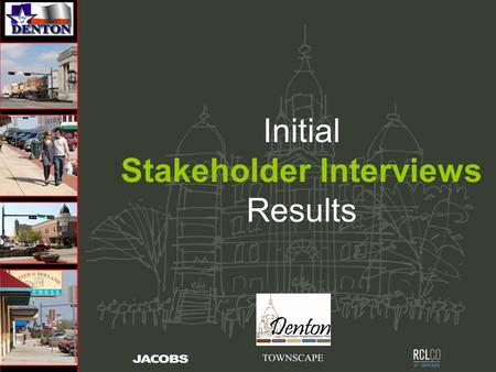 Initial Stakeholder Interviews Results.  Three Days – Stakeholder Interviews - Rick - Dennis - Alexis  +/- 90 Individuals  All results are a +/- percentage.
