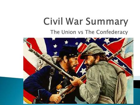 The Union vs The Confederacy. 1. In the last unit we learned about causes leading to the Civil War. 2. We learned about how the North and the South of.