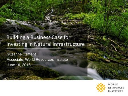 Partners and supporters Building a Business Case for Investing in Natural Infrastructure Suzanne Ozment Associate, World Resources Institute June 16, 2016.