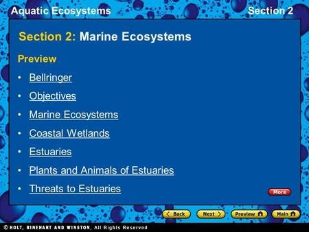 Aquatic EcosystemsSection 2 Section 2: Marine Ecosystems Preview Bellringer Objectives Marine Ecosystems Coastal Wetlands Estuaries Plants and Animals.