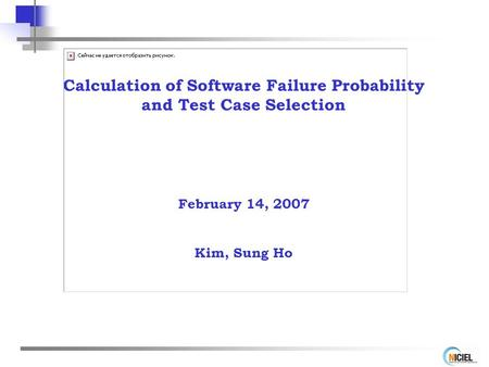 Calculation of Software Failure Probability and Test Case Selection February 14, 2007 Kim, Sung Ho.
