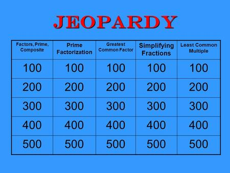 Jeopardy Factors, Prime, Composite Prime Factorization Greatest Common Factor Simplifying Fractions Least Common Multiple 100 200 300 400 500.