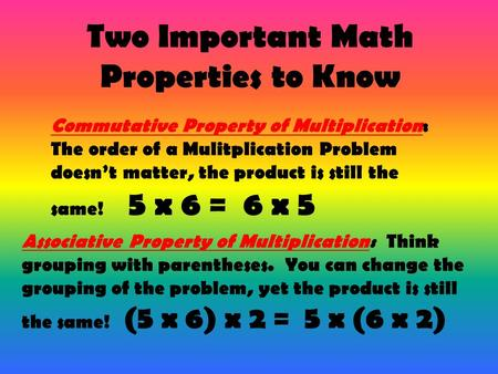 Two Important Math Properties to Know Commutative Property of Multiplication: The order of a Mulitplication Problem doesn't matter, the product is still.