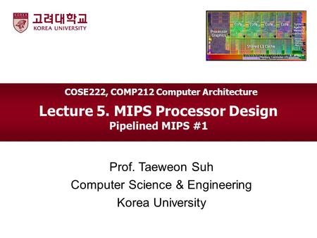 Lecture 5. MIPS Processor Design Pipelined MIPS #1 Prof. Taeweon Suh Computer Science & Engineering Korea University COSE222, COMP212 Computer Architecture.