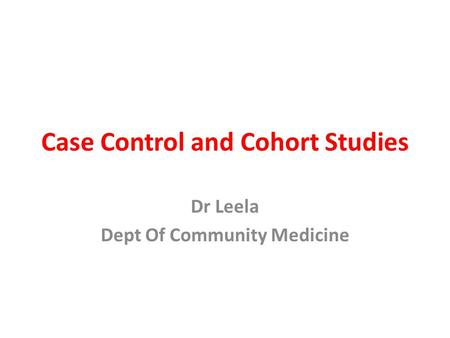 Case control study European Respiratory Journal Analysis of case control studies Two possible outcomes for an exposed person  case or