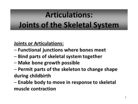 1 Articulations: Joints of the Skeletal System Joints or Articulations: – Functional junctions where bones meet – Bind parts of skeletal system together.