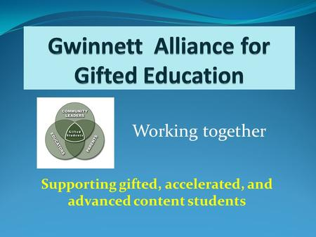 Supporting gifted, accelerated, and advanced content students Working together.