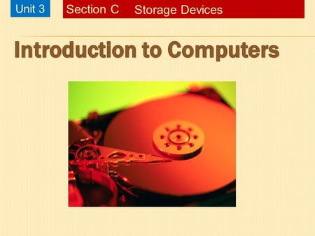 Unit 3 Storage Devices Section C. Chapter 1, Slide 2Starting Out with Visual Basic 3 rd EditionIntroduction to ComputersUnit 3C – Storage DevicesSlide.