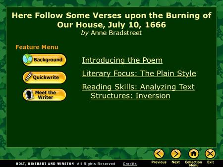 Introducing the Poem Literary Focus: The Plain Style Reading Skills: Analyzing Text Structures: Inversion Here Follow Some Verses upon the Burning of.
