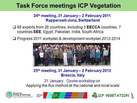 Task Force meetings ICP Vegetation ICP VEGETATION 30 th 24 th meeting, 31 January – 2 February 2011 Rapperswil-Jona, Switzerland  68 experts from 26 countries,