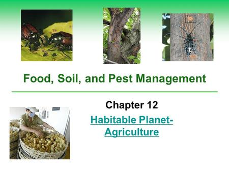 Food, Soil, and Pest Management Chapter 12 Habitable Planet- Agriculture.