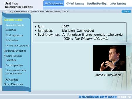 Before Reading_ MAIN About the Author James Surowiecki Industrial <strong>Revolution</strong> Richard Easterlin Group Discussion ● Born: 1967 ● Birthplace: Meridien, Connecticut.