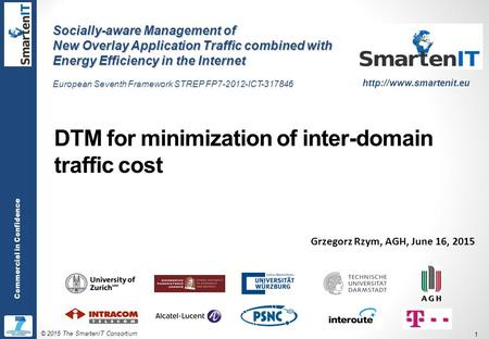 © 2015 The SmartenIT Consortium 1 Commercial in Confidence DTM for minimization of inter-domain traffic cost Grzegorz Rzym, AGH, June 16, 2015 Socially-aware.