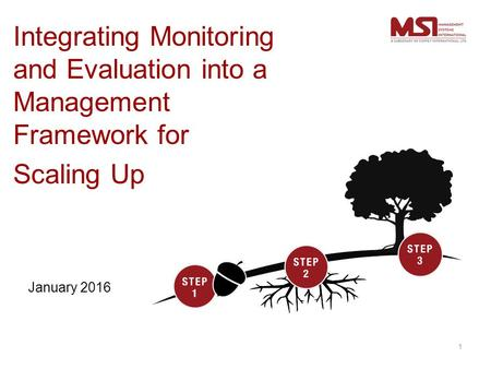 Integrating Monitoring and Evaluation into a Management Framework for Scaling Up January 2016 1.