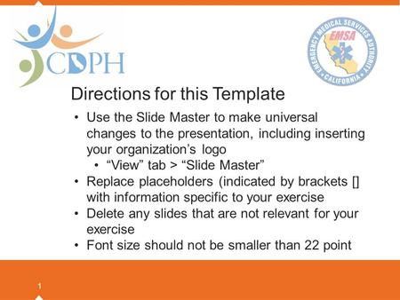 "1 Directions for this Template Use the Slide Master to make universal changes to the presentation, including inserting your organization's logo ""View"""