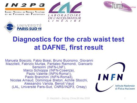 G. Mazzitelli – Beijing, China 26 May 20081 Diagnostics for the crab waist test at DAFNE, first result Manuela Boscolo, Fabio Bossi, Bruno Buonomo, Giovanni.
