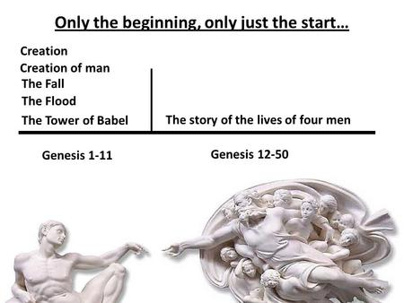 Only the beginning, only just the start… Creation Creation of man The Fall The Flood The Tower of Babel Genesis 1-11 The story of the lives of four men.