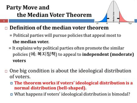 Party Move and the Median Voter Theorem 1  Definition of the median voter theorem = Political parties will pursue policies that appeal most to the median.