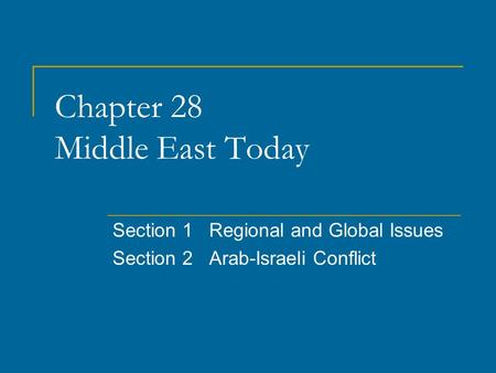 Chapter 28 Middle East Today Section 1 Regional and Global Issues Section 2 Arab-Israeli Conflict.