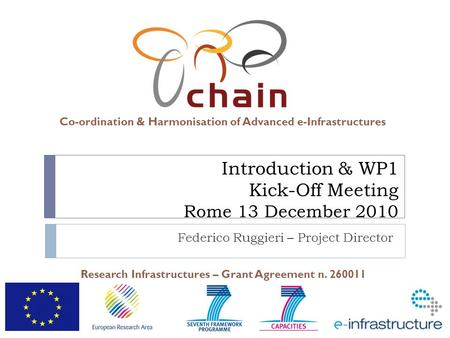Co-ordination & Harmonisation of Advanced e-Infrastructures Research Infrastructures – Grant Agreement n. 260011 Introduction & WP1 Kick-Off Meeting Rome.