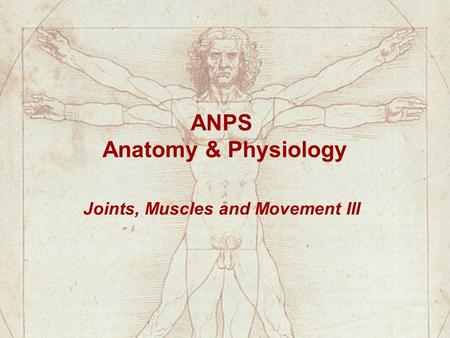 ANPS Anatomy & Physiology Joints, Muscles and Movement III.