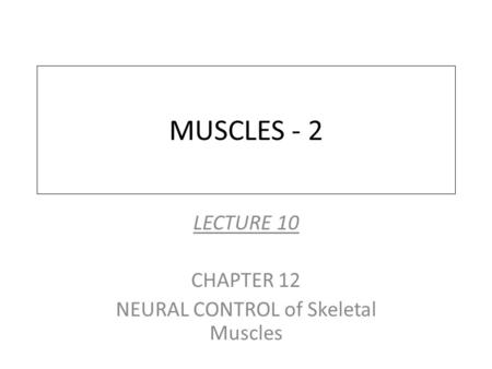 MUSCLES - 2 LECTURE 10 CHAPTER 12 NEURAL CONTROL of Skeletal Muscles.
