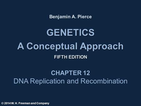 GENETICS A Conceptual Approach FIFTH EDITION GENETICS A Conceptual Approach FIFTH EDITION Benjamin A. Pierce CHAPTER 12 DNA Replication and Recombination.