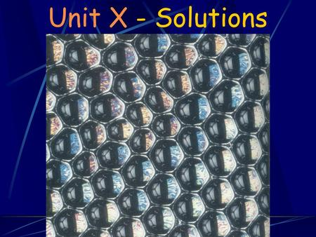 Unit X - Solutions Chapter Goals 1. Understand the process of dissolving and why certain substances dissolve in water. 2. Understand the qualitative.