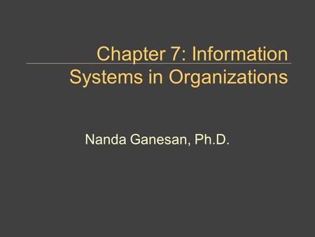 Chapter 7: Information Systems in Organizations Nanda Ganesan, Ph.D.