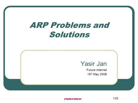 1/22 ARP Problems and Solutions Yasir Jan Future Internet 15 th May 2008.