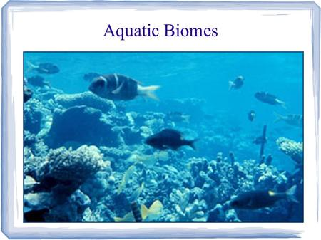 Aquatic Biomes. 75% of the Earth's surface Freshwater – 2.5% Saltwater - Seas and Oceans - 97.5%