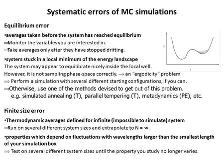 Systematic errors of MC simulations Equilibrium error averages taken before the system has reached equilibrium  Monitor the variables you are interested.