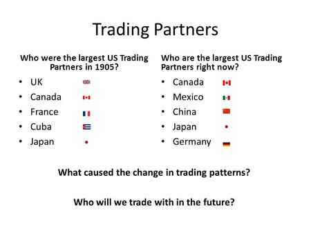Trading Partners Who were the largest US Trading Partners in 1905? UK Canada France Cuba Japan Who are the largest US Trading Partners right now? Canada.