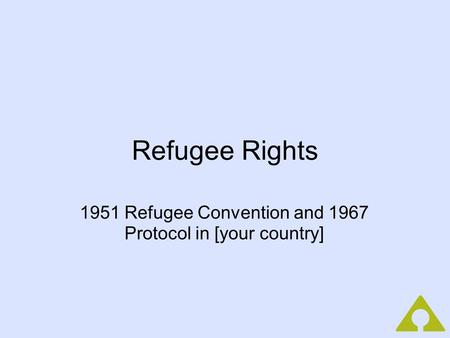 Refugee Rights 1951 Refugee Convention and 1967 Protocol in [your country]