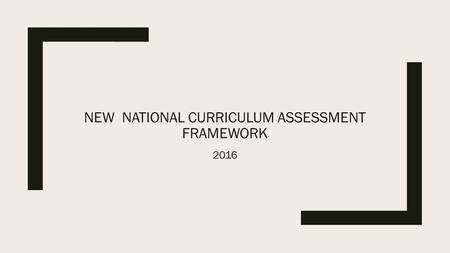 NEW NATIONAL CURRICULUM ASSESSMENT FRAMEWORK 2016.