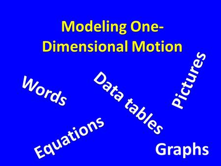 Modeling One- Dimensional Motion W o r d s P i c t u r e s Graphs D a t a t a b l e s E q u a t i o n s.