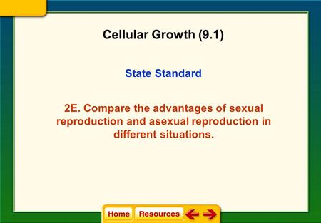 State Standard 2E. Compare the advantages of sexual reproduction and asexual reproduction in different situations. Cellular Growth (9.1)