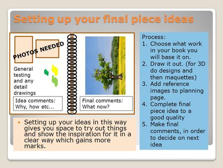 Setting up your final piece ideas Setting up your ideas in this way gives you space to try out things and show the inspiration for it in a clear way which.