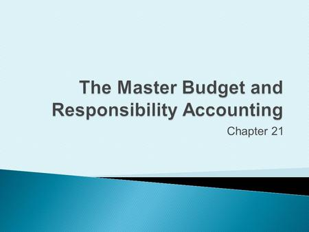 Chapter 21. Learn why managers use budgets Develop strategy PlanActControl 3Copyright 2009 Prentice Hall. All rights reserved.