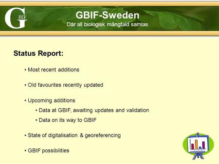 G BIF GBIF-Sweden Där all biologisk mångfald samlas Status Report: Most recent additions Old favourites recently updated Upcoming additions Data at GBIF,
