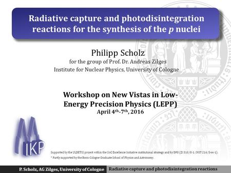 Radiative capture and photodisintegration reactions P. Scholz, AG Zilges, University of Cologne Radiative capture and photodisintegration reactions for.
