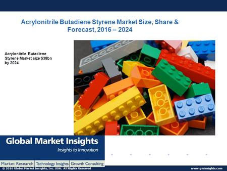 © 2016 Global Market Insights, Inc. USA. All Rights Reserved  Acrylonitrile Butadiene Styrene Market Size, Share & Forecast, 2016 – 2024.