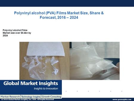© 2016 Global Market Insights, Inc. USA. All Rights Reserved  Polyvinyl alcohol (PVA) Films Market Size, Share & Forecast, 2016 – 2024.