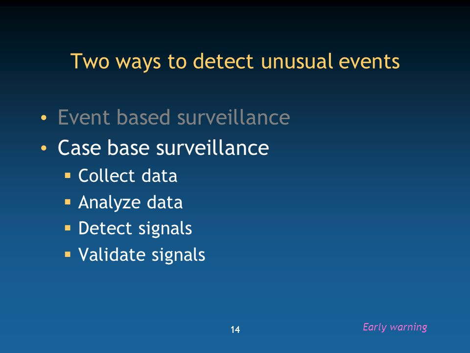 15 Challenges to surveillance data analysis to detect unusual events Imperfect data  Changes over time  Multiple sources of information  Problem of quality and completeness Need an in-depth knowledge of the system  Evaluation  To know what is unusual, you need to know what is usual Early warning