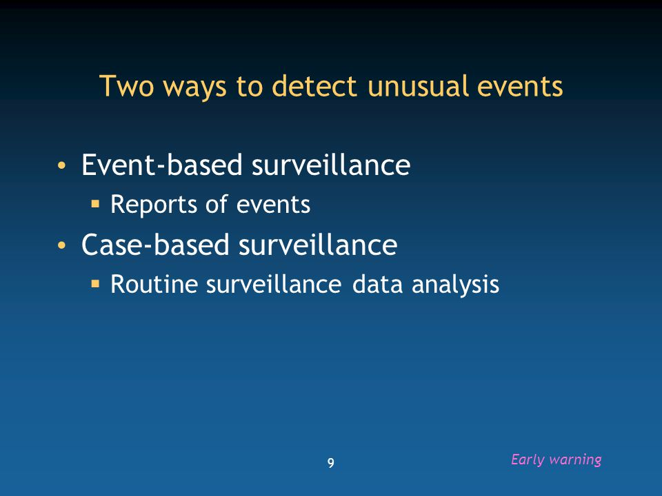 10 Components of early warning surveillance DataReports Alert Public health alert AnalyzeFilter ValidateVerify Assess Surveillance: Response Case-based surveillanceEvent-based surveillance Signal Post-outbreak strengthening Evaluate Investigate Control measures Early warning