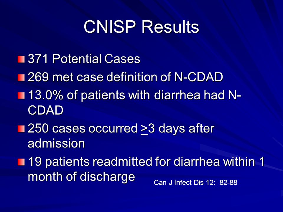 CNISP Results II Incidence density was 66.3 cases/100,000 patient days and 5.9 cases/1000 patient admissions Mean # of N-CDAD per institution in 6 weeks was 13.7.